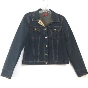 Sundance Dark Blue Denim Button Crop Jacket S
